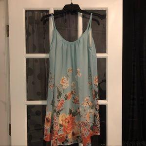 Mint and orange floral boutique dress